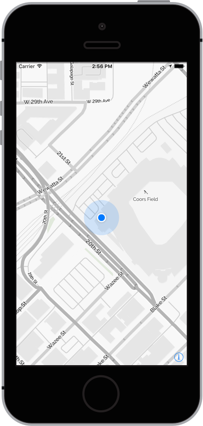 iPhone with Map and Users Location