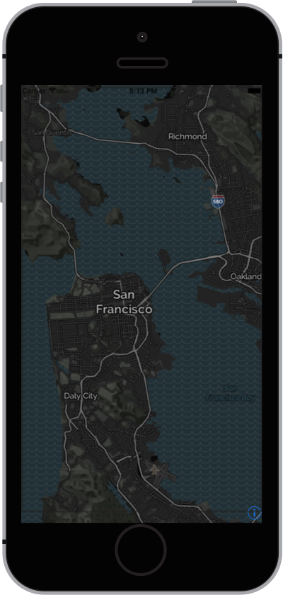 iPhone with Night Mode Map